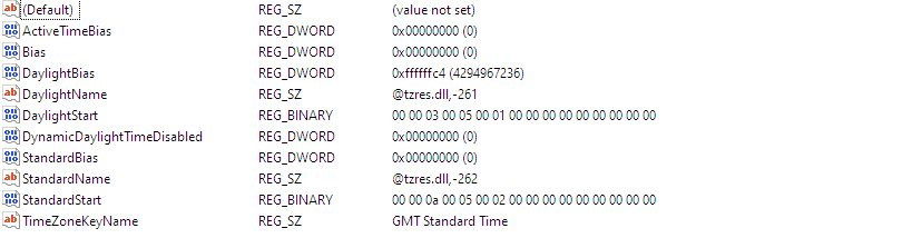 Windows Registry Timezone Config